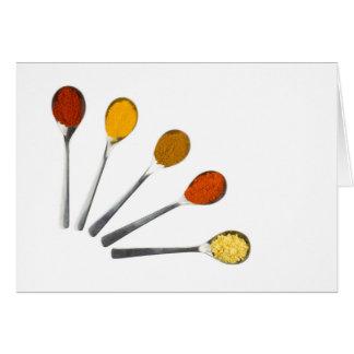 Cartão Cinco especiarias de tempero em colheres do metal