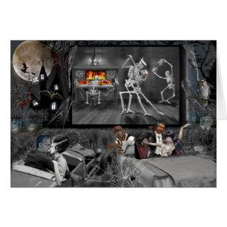 Cartão Cinema ao ar livre assombrado do Dia das Bruxas