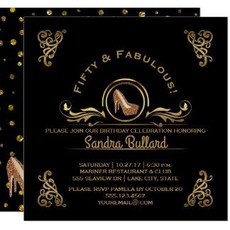 Cartão Cinqüênta e festa de aniversário fabulosa dos