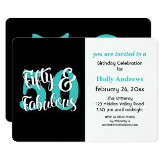 Cartão Cinqüênta & festa de aniversário fabulosa da