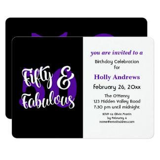 Cartão Cinqüênta & festa de aniversário roxa fabulosa da