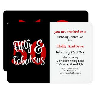 Cartão Cinqüênta & festa de aniversário vermelha fabulosa