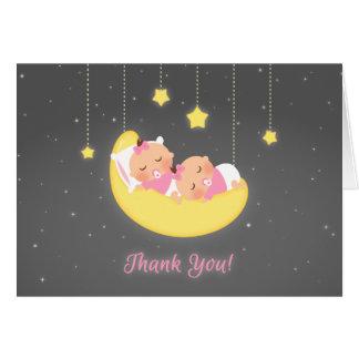 Cartão Cintilação pouco obrigado dos gêmeos do bebé da