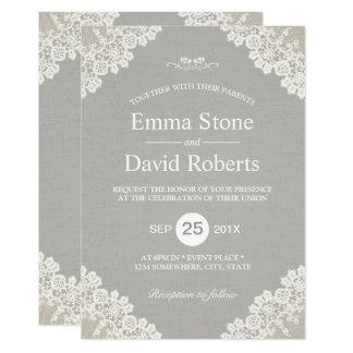 Cartão Cinza elegante do laço branco rústico do vintage