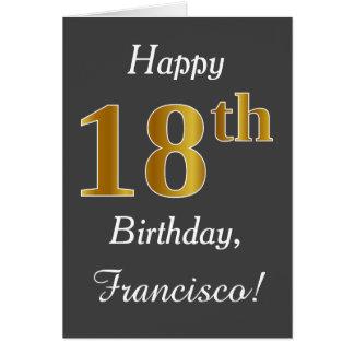 Cartão Cinzas, aniversário do ouro do falso 18o + Nome