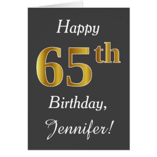 Cartão Cinzas, aniversário do ouro do falso 65th + Nome