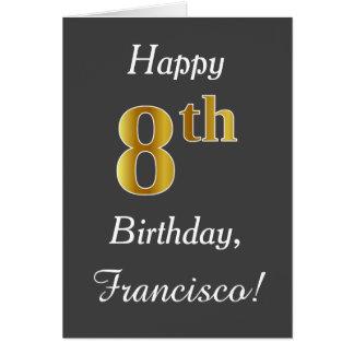 Cartão Cinzas, aniversário do ouro do falso 8o + Nome