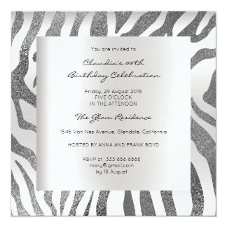 Cartão Cinzas de prata de pele animal do safari da zebra