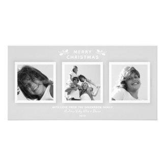 Cartão Cinzas pálidas modernas elegantes 3 Felizes Natais