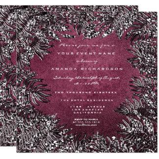 Cartão Cinzas quadro tropicais Borgonha do brilho das