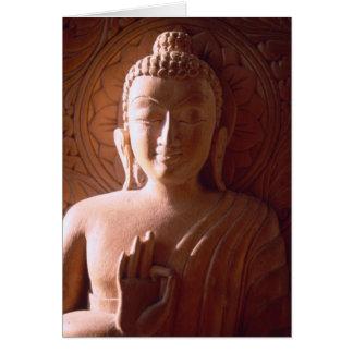 Cartão Cinzeladura de madeira indiana de Buddha