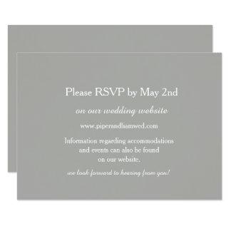 Cartão cinzento da resposta do casamento convite 8.89 x 12.7cm