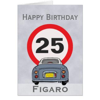 Cartão cinzento do feliz aniversario do carro de