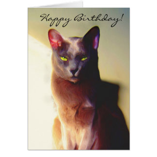 Cartão cinzento do gato do feliz aniversario