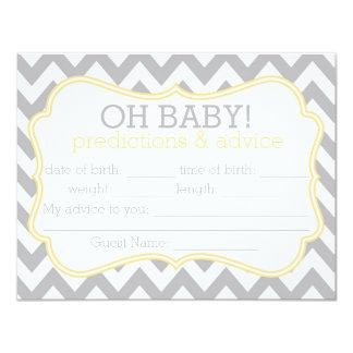 Cartão cinzento e amarelo das previsões & do convite 10.79 x 13.97cm