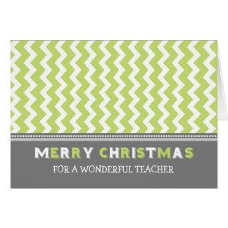 Cartão cinzento verde do Feliz Natal do professor