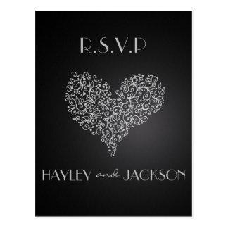 """cartão cinzentos do rsvp do casamento """"com amor """" cartão postal"""