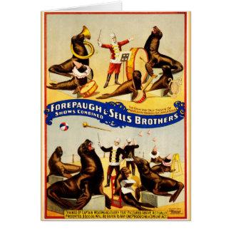 Cartão Circo do vintage - leões e selos de mar