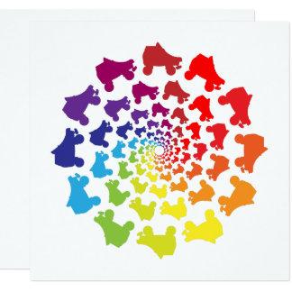 Cartão círculo do arco-íris do rollerskate