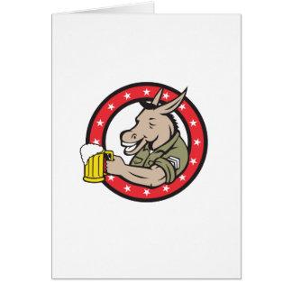 Cartão Círculo do bebedor de cerveja do asno retro