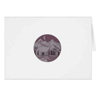 Cartão Círculo mono L da lua da montanha do Brontosaurus