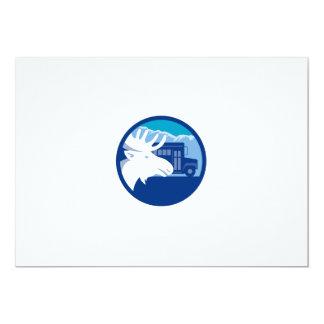 Cartão Círculo principal do auto escolar dos alces retro