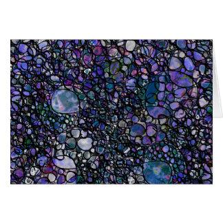 Cartão Círculos abstratos desenhados mão, azul, roxo,