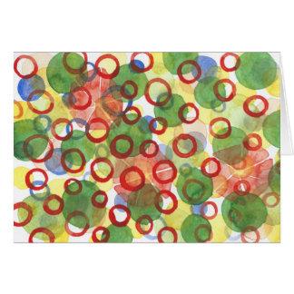 Cartão Círculos vermelhos e verdes do Watercolour