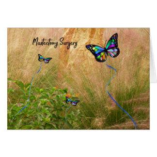 Cartão Cirurgia da mastectomia com borboletas coloridas