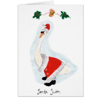 Cartão Cisne do papai noel: O Natal é dando