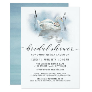 Cartão Cisne no chá de panela da aguarela do lago