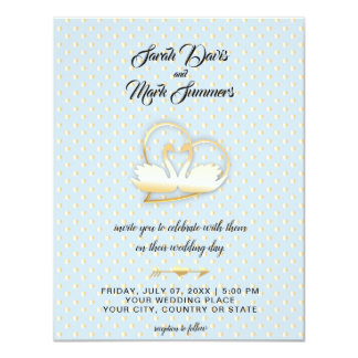 Cartão Cisnes douradas do coração, casamento delicado do