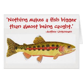 Cartão Citações cómicos da pesca com trabalhos de arte da