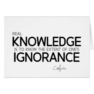 Cartão CITAÇÕES: Confucius: Conhecimento real