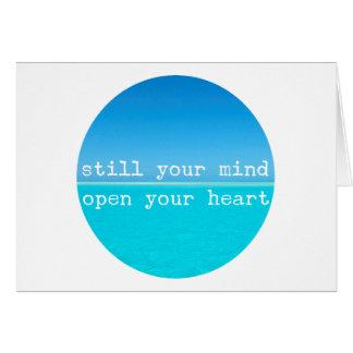 Cartão Citações conscientes da meditação: Ainda mente,