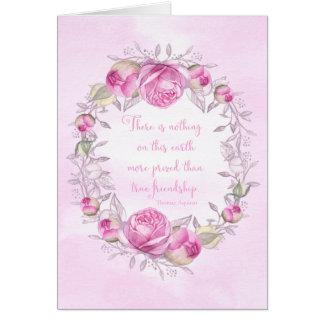 Cartão Citações da amizade dos rosas do rosa do feliz