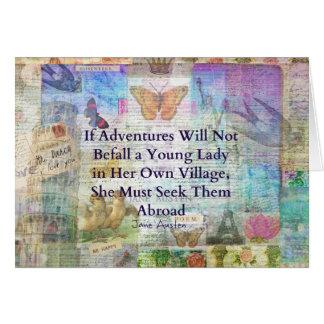 Cartão Citações da aventura do viagem de Jane Austen