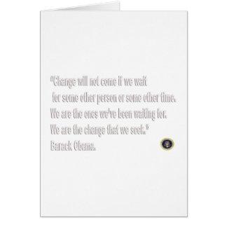 Cartão Citações da mudança de Barack Obama
