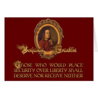 Cartão Citações de Ben Franklin:  Segurança sobre a