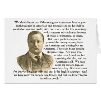 Cartão Citações de Teddy Roosevelt