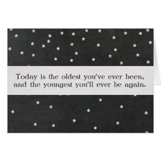 Cartão Citações do aniversário com texto feito sob