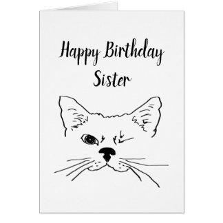 Cartão Citações do humor do aniversário da irmã que pisc