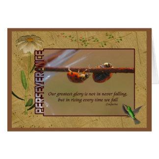 Cartão Citações inspiradas da perseverança dos joaninhas