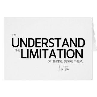 Cartão CITAÇÕES: Lao Tzu: Limitação das coisas