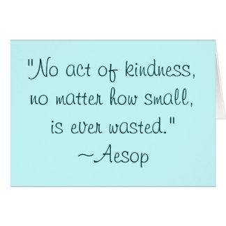 Cartão Citações Notecard da bondade de Esopo