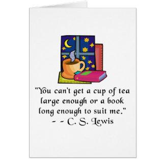 Cartão Citações Notecard de w do chá & dos livros