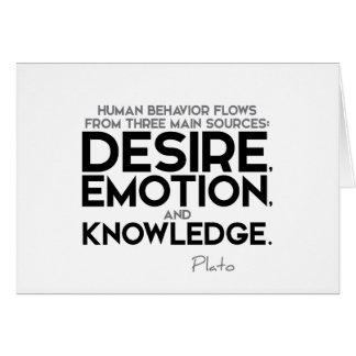 Cartão CITAÇÕES: Plato: Desejo, emoção, e conhecimento