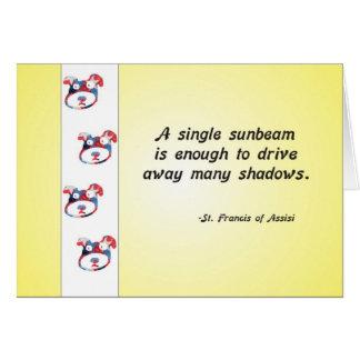 Cartão Citações voluntárias da cara e do raio de sol do