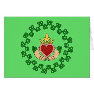 Cartão Claddagh e Knotwork verde