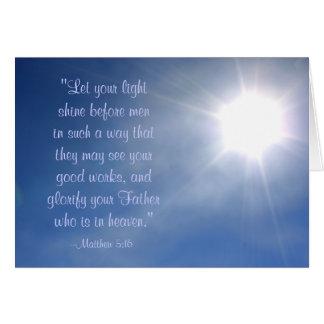 Cartão claro brilhante do 5:16 de Matthew